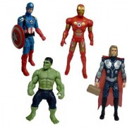 Set of 4 Avengers Hulk Captain America Thor and Iron Man Action Figure 20 cms with LED light
