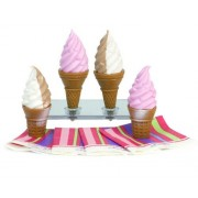 Sophias Ice Cream Cone 8 Pc. Set for 18 Inch Pretend Play for Dolls, Includes 4 Ice Cream Cones & 4 Paper Napkins. Doll Play Food of 2 Flavors Strawberry and Chocolate & Vanilla Swirl, Perfect for American Girl Food and More!