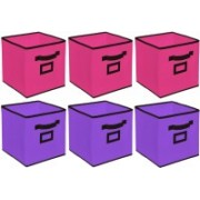 Billion Designer Non Woven 6 Pieces Large Foldable Storage Organiser Cubes/Boxes (Pink & Purple) - CTKTC35296 CTLTC035296(Pink & Purple)