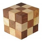 Joc logic din lemn - Cub care se poate desface si reconstrui
