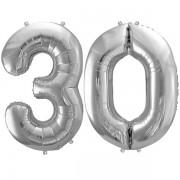 30-as ezüst szám fólia lufi