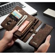 CASEME 008 Series Multi-functional 2-in-1 Zipper Wallet Split Leather Case for Huawei P30 - Brown