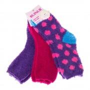 Комплект 3 чифта детски хавлиени чорапи Z-1053 лилави и цикламени универсални размери 27-30