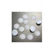 ELECTROPRIME New 50 Pcs 15mm Resin Round White Flat Back Scrapbooking Crafts Art Phone Decors Home Decorations Beauty Decor Tools Hotting