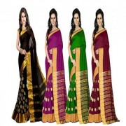 Bhuwal fashion Multicoloured Poly Cotton Silk saree Combos (Combo Of 4) combo242