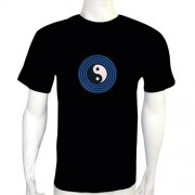 LED Electro Luminescence Eight Trigram Shaped Sound-Activated Funny Dancing T Shirt 12004