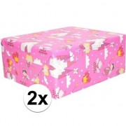 Geen 2x Inpakpapier/cadeaupapier roze elfjes thema 200 x 70 cm op rol
