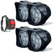Eshopglee Car /Bike /Motorcycle /Scooty Universal 12 LED Fog Light 2+1 Switch (Blk)