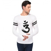 TRENDS TOWER Full Sleeve Round Neck Thumb Ring Mens T-Shirt White Color Om Graphics Print