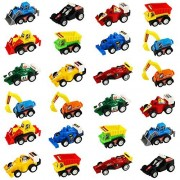 Jerryvon Pull-BackVehicles Mini Toy Cars for Easter Egg Fillers Assorted Trucks and Raced Car Toy Set with Dumps Trucks Diggers Bullozers Racing Cars Karting Construction Party Favors for Kids 24PCS