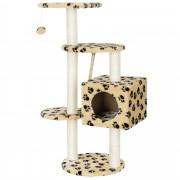 [en.casa]® Rascador para gatos (40 x 40 x 113 cm aprox)(crema con huellas) varios niveles - sisal - con juegos y sitio para acurrucarse