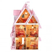 17 Wooden Dream Dollhouse 6 Rooms with Furnitures Lights DIY Kits Miniature Doll House Great for Gift