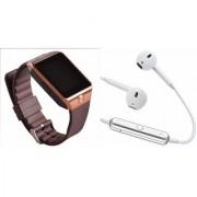 Zemini DZ09 Smart Watch and S6 Bluetooth Headsetfor Samsung Galaxy C7 Pro(DZ09 Smart Watch With 4G Sim Card Memory Card| S6 Bluetooth Headset)