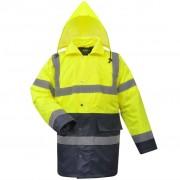 vidaXL férfi fényvisszaverő poliészter kabát méret L sárga + kék