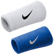 Verceys White And Blue Long White Sports Doublewide Wrist Band - Pack Of 2