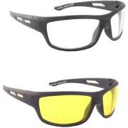Austin White & Yellow Night Vision Wrap-around Unisex Sunglasses (Set Of 2)