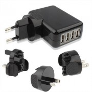 4 USB Travel Charger with 4 Easy Travel Interchangeable Plugs for iPad Air 2 & Air & 4 New iPad (iPad 3) / iPad 2 / iPad iPhone 6 & 6 Plus & 5 & 5S & 4 & 4S Mobile Phone Black(Black)