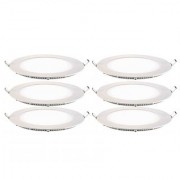 SRS 3W LED Concealed Round Shape Panel Light With Adopter Pack Of 6 Warm White
