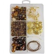 eshoppee handmade lampwork furnace fancy glass beads seed beads jewellery making art and craft diy kit (brown)