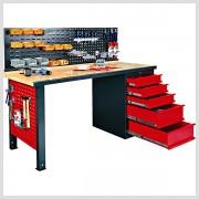 Profi pracovný stôl s perforovanou stenou a zásuvkami 170 x 85 x 69cm