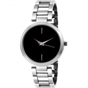 New Black Dile Metal Strep Silver Still Chain Belt Best Designing Stylist Looking Analog Branded Watch For Women Girls