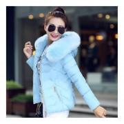 EY Las Mujeres De Estilo Coreano Pelaje Corto Con Capucha Cuello De Piel Abajo Chaqueta De Adelgazamiento-Blue
