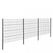 [pro.tec] Drótkerítés kerítés panel kétdimenziós gyári kerítés szett 6 x 1,6 m oszloppal szürke