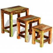 vidaXL Set de 3 mese în stil vintage din lemn reciclat
