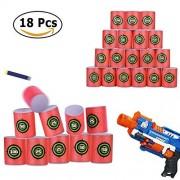 Elongdi Eva Soft Bullet Target for Nerf N-Strike Elite Series Blasters, [ Pack of 18 ] Dart Form Targets Kids Toy Gun Shooting Games and Practice