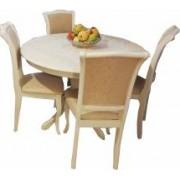 Masa de bucatarie sau living de culoare crem cu 4 scaune de lemn 106-141 cm