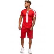 OneRedox Jogging Suit Sport Set Training Suit Shorts & Short Sleeved T Shirt Red 1199C 59006-1