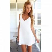 Lady Halter Strap con elegante vestido de las mujeres blancas - Blanco (XL)