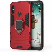PC + TPU Resistente Estuche Protector Para Xiaomi Redmi 6 Pro / Mi A2 Lite, Con Anillo Magnético Titular De Shell De La Cubierta (rojo)