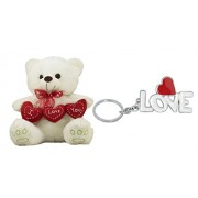 Tickles Romantic Loving Teddy With Heart And Love Soft Toy Key Rings (White)