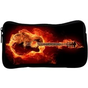 Snoogg Guitar On Fire Poly Canvas Student Pen Pencil Case Coin Purse Utility Pouch Cosmetic Makeup Bag