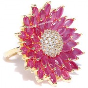Jewels Galalxy Brilliant AAA Zircon Pink Meenakari Floral Gold Plated Traditional Adjustable Ring For Women/Girls