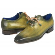 Paul Parkman Plain Toe Wholecut Hand Painted Leather Oxford Shoes Green 755-GRN