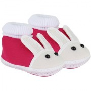 Neska Moda Baby Boys and Girls Rabbit Pink Booties For 0 To 12 Months Infants SK147