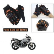 AutoStark Gloves KTM Bike Riding Gloves Orange and Black Riding Gloves Free Size For Hero Hunk