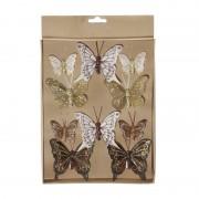 Merkloos Kerstversiering vlinders op clip bruin/goud 10x