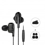 LANGSDOM D4 3.5mm In-Ear Wired Dual Dynamic Driver HiFi Headset with Microphone for iPhone Samsung LG - Black