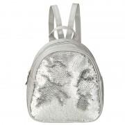 Geen Rugzak/schooltas zilver met pailletten 19 cm voor meisjes