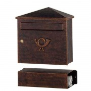 Fancy letterbox LUCIO brown-gold patinated