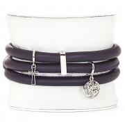 Bratara Personalizata Christina Piele Naturala Purple Silver