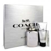 Coach Platinum Eau De Parfum Spray + Shower Gel + Mini EDP Spray Gift Set Men's Fragrances 551685