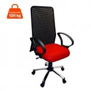 Cadeira de Escritório Presidente Giratória Cromada E Vermelho