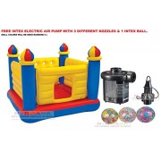 INTEX Inflatable Jump-O-Lene Ball Pit Castle Bouncer With Intex Electric Air Pump AND INTEX INFLATABLE FUN BALL.