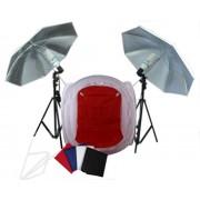 Zestaw oświetleniowy bezcieniowy - 2x600W + namiot 60cm z parasolami + 2x statyw 230cm