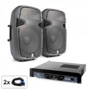 """Electronic-Star Conjunto PA """"SPJ Boom 15"""" 2 altavoces de 38cm y amplificador 1500W (PL-7577-21667)"""