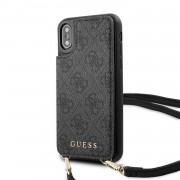 Guess Ochranný kryt pro iPhone XS / X - Guess, 4G Crossbody Cardslot Grey